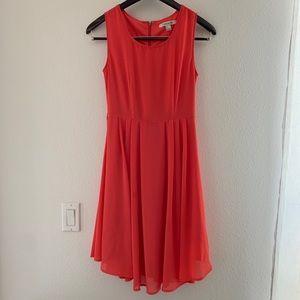 Coral A-Line Sleeveless Dress.